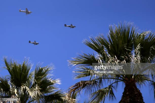 Historic planes fly over UCLA Medical Center in honor of Memorial Day on May 25 2020 in Westwood California Government guidelines encourage wearing a...