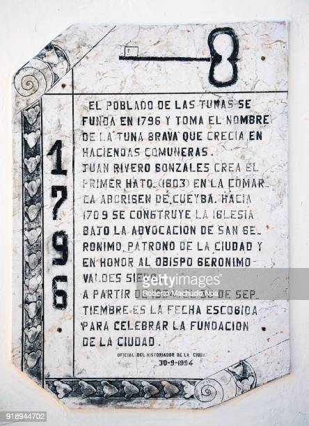 Historic plaque explaining the foundation of the Las Tunas city