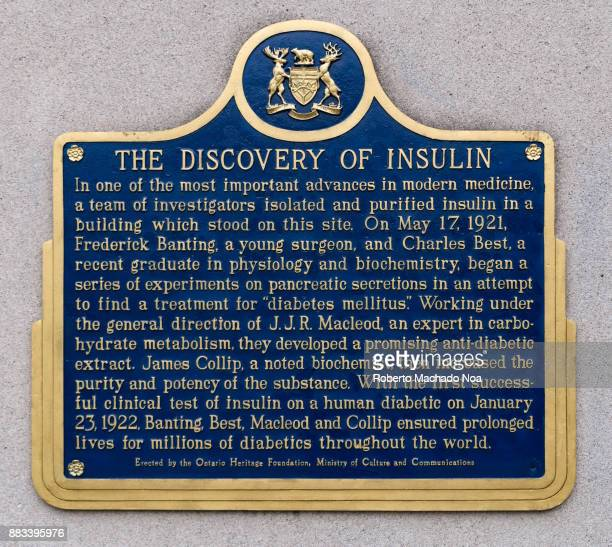 Historic plaque marking the 'Discovery of Insulin' by Frederick Banting and Charles Best