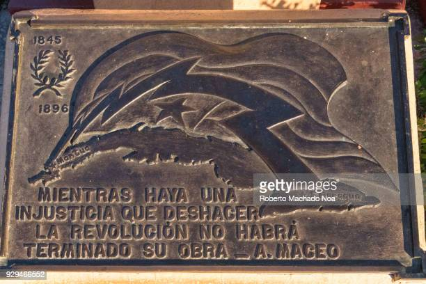 Historic plaque with a phrase of Antonio Maceo a Cuban Hero and Martyr of the Independence Wars The phrase reads As long as an injustice exist the...