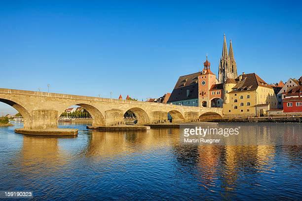 historic regensburg with danube river. - レーゲンスブルク ストックフォトと画像