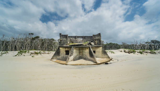 historic remains of a WW2 gun emplacement of Fort Bribie on the ocean beach of Bribie Island National Park, Moreton Bay region, Queensland, Australia