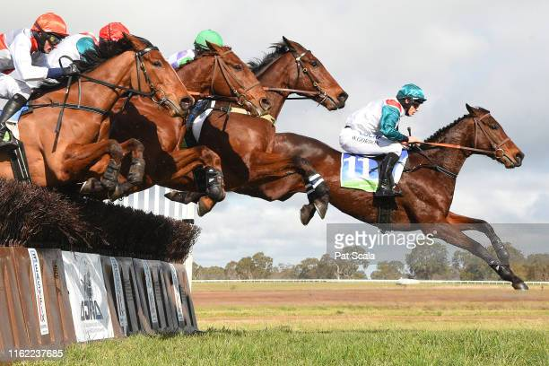 Historic ridden by Will Gordon jumps a steeple on the way to winning the QLS Great Western Steeplechase at Coleraine Racecourse on August 18 2019 in...