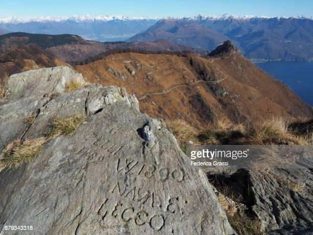 Historic Rock Inscriptions On Top Of Mount Morissolo