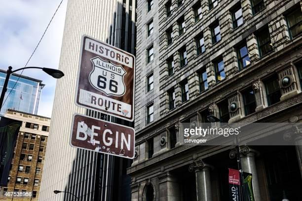 à partir de l'historique route 66, du centre-ville de chicago - route 66 photos et images de collection