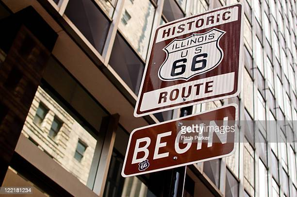 historic route 66 - illinois stock pictures, royalty-free photos & images