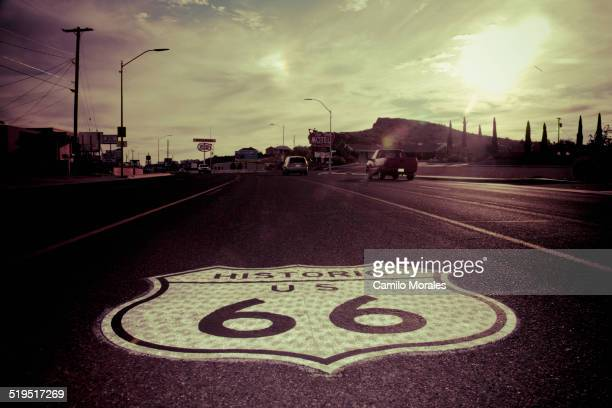 Historic Route 66 sign in pavement on road, Kingman, Arizona, United States