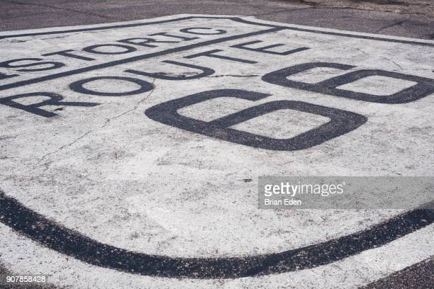 Historic Route 66 sign painted on the road in Kingman, Arizona
