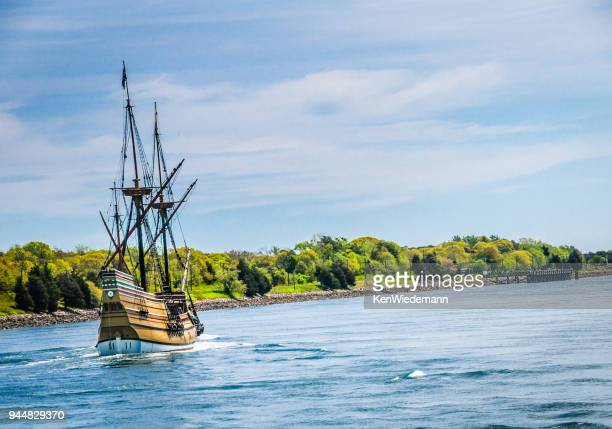 historic sail - the mayflower stock photos and pictures