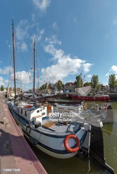 Historic sailing ships in the South Harbour, Harlingen, Friesland, Netherlands.