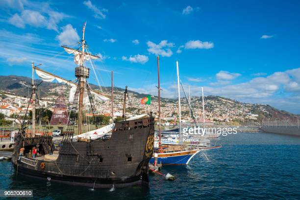 historic santa maria replica ship for tourist tours in harbor of madeira portugal - madeira island stock photos and pictures