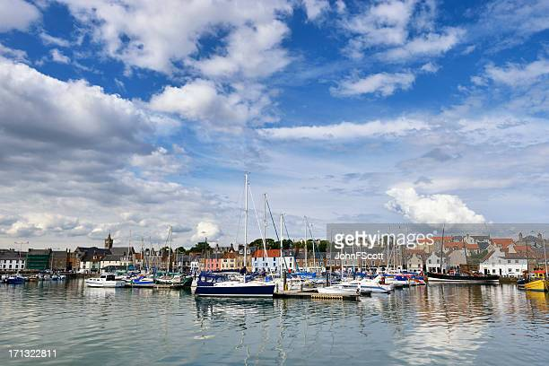 historic scottish fishing harbour on a sunny day - johnfscott stock pictures, royalty-free photos & images