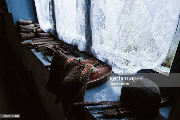 Historic Sherpa clothing on show at the Sherpa history museum on September 21 2016 in Namche Bazar Nepal The trails in the SoluKhumbu region of Nepal...