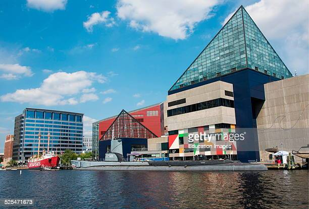 Historic ships in front of the National Aquarium Baltimore Maryland