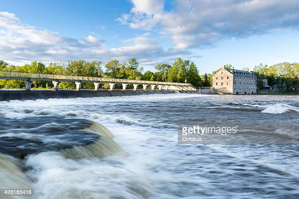 historic site of ile des moulins terrebonne lanaudiere, quebec, canada - hydroelectric power station stock photos and pictures