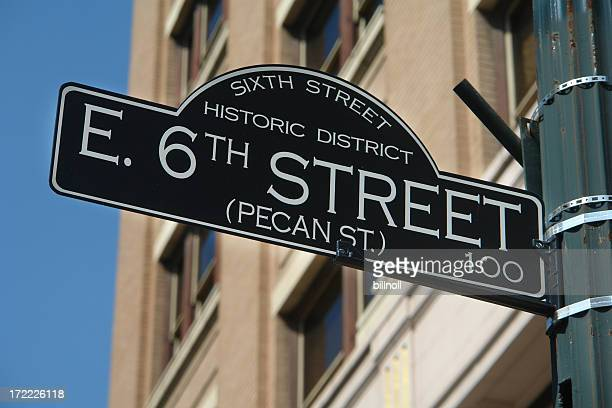 historic sixth street sign austin, texas - austin texas stock pictures, royalty-free photos & images
