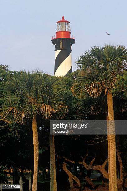 historic st. augustine lighthouse in st. augustine, fl - st augustine lighthouse stock photos and pictures