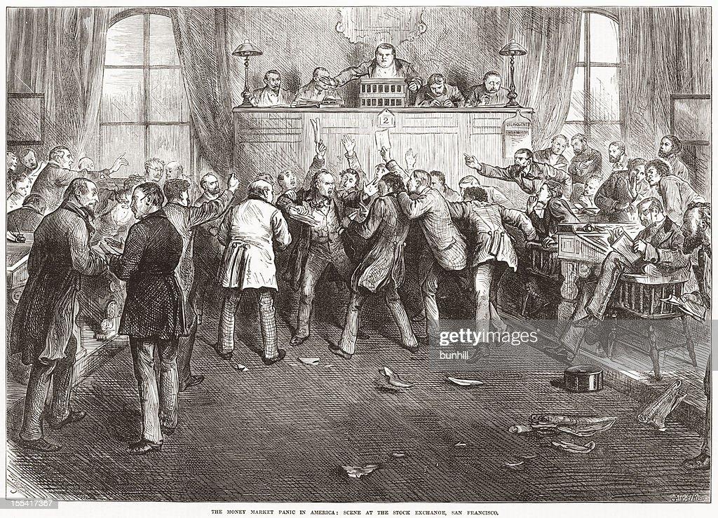 Historic Stock Market Crash 1873 USA - Traders Panic : Stockfoto