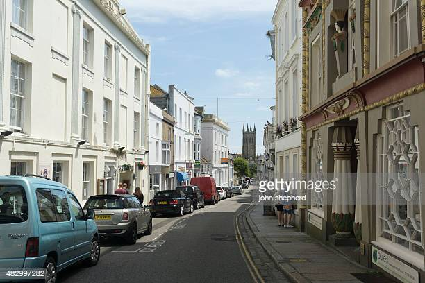 historic streets of penzance town centre, cornwall - penzance stock pictures, royalty-free photos & images