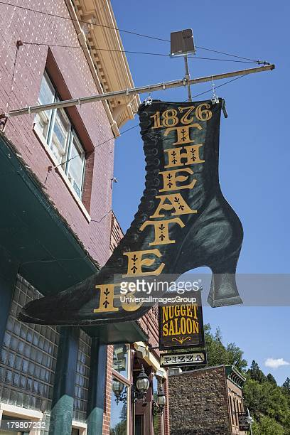 Historic theatre sign in shape of a boot Deadwood South Dakota