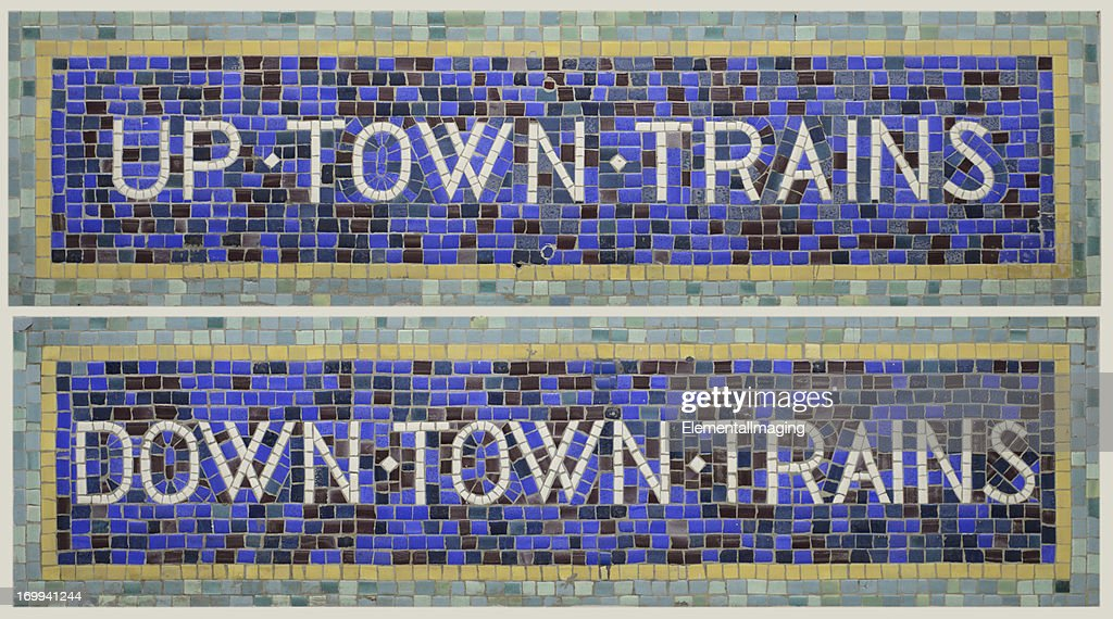 Historic Tile Mosaic New York City Subway Signs Uptown/Downtown Trains : Stock Photo