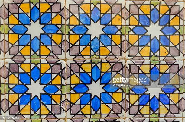 Historic tile part of the pena castle in sintra portugal