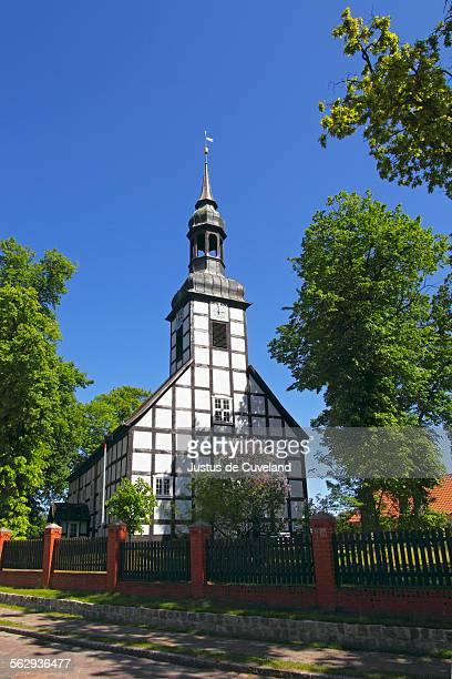 historic timber-framed church in ahlbeck, ahlbecker dorfkirche, build in 1754, ahlbeck, uecker-randow district, mecklenburg-western-pomerania, germany, europe - ウセドム ストックフォトと画像