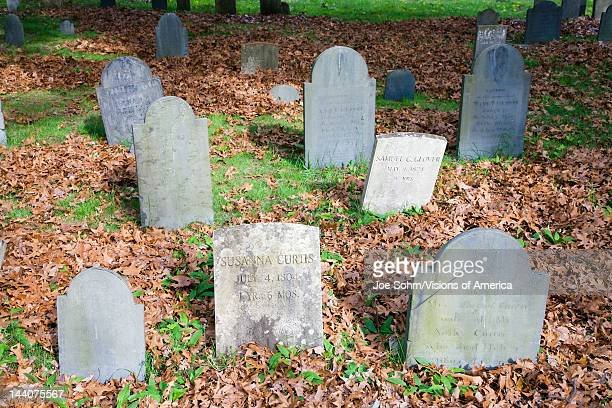Historic tombstones across from burial spots for John Adams and John Quincy Adams Quincy Ma USA