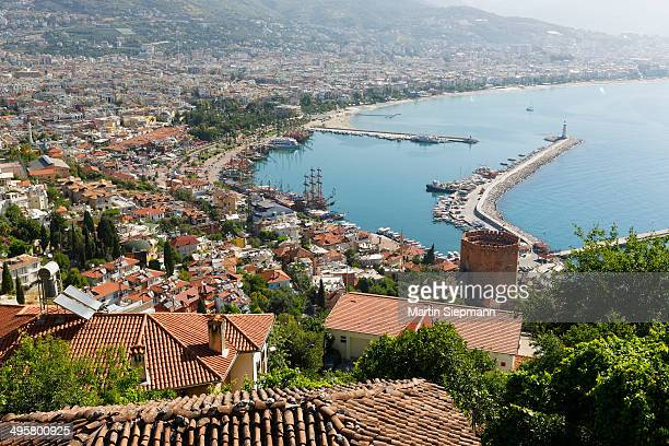 Historic town centre of Alanya with the port and Kizil Kule or Red Tower, view from Castle Hill, Alanya, Turkish Riviera, Province of Antalya, Mediterranean Region, Turkey