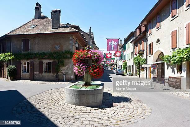 historic town centre of saint-prex, canton of vaud, switzerland, europe - vaud canton stock pictures, royalty-free photos & images