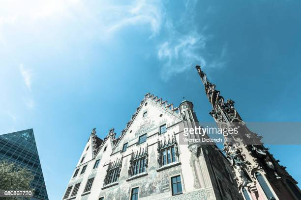 historic town hall and part of the syrlin fountain in ulm - ulm stock pictures, royalty-free photos & images