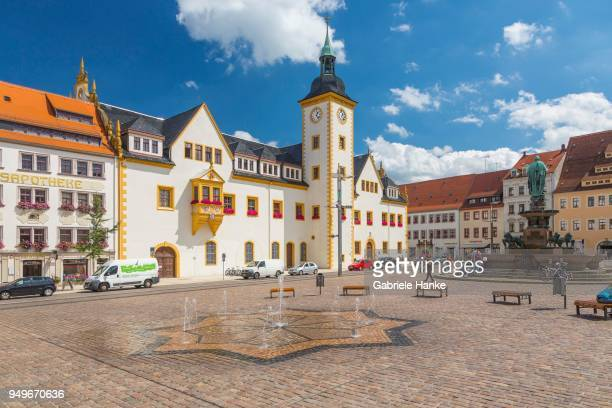 historic town hall at obermarkt in freiberg, saxony, germany - saxony stock pictures, royalty-free photos & images