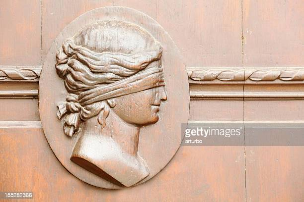 historic town hall door in gera with lady justice - relief carving stock pictures, royalty-free photos & images