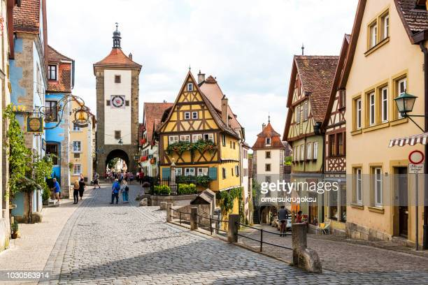 historic town of rothenburg ob der tauber, franconia, bavaria, germany - rothenburg stock photos and pictures