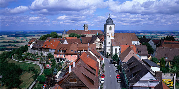 Historic town rooftops and buildings., Waldenberg, Baden-Wurttemberg, Germany, Europe