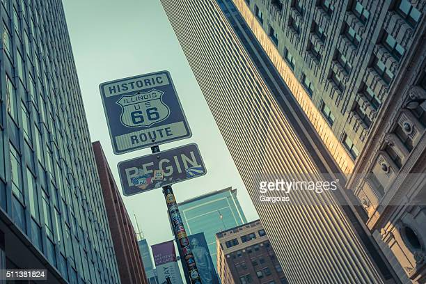 Historic U.S. Route 66 begin sign, downtown Chicago