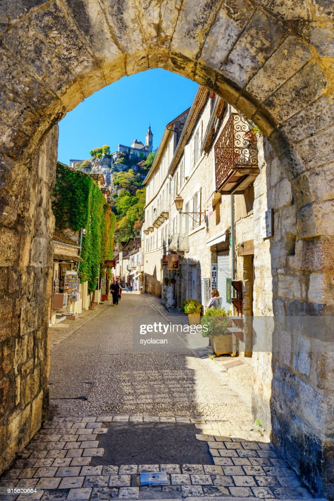 Historic village and castle Rocamadour : Stock Photo