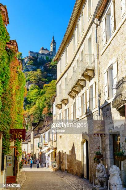historic village and castle rocamadour - rocamadour stock pictures, royalty-free photos & images