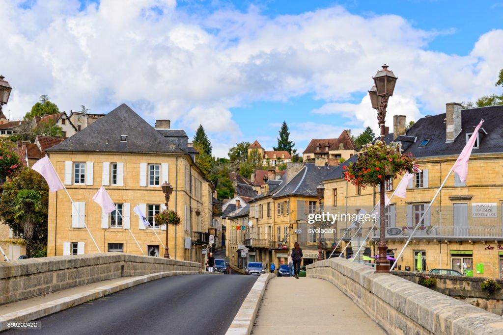 Historic village Montignac in France : Stock Photo