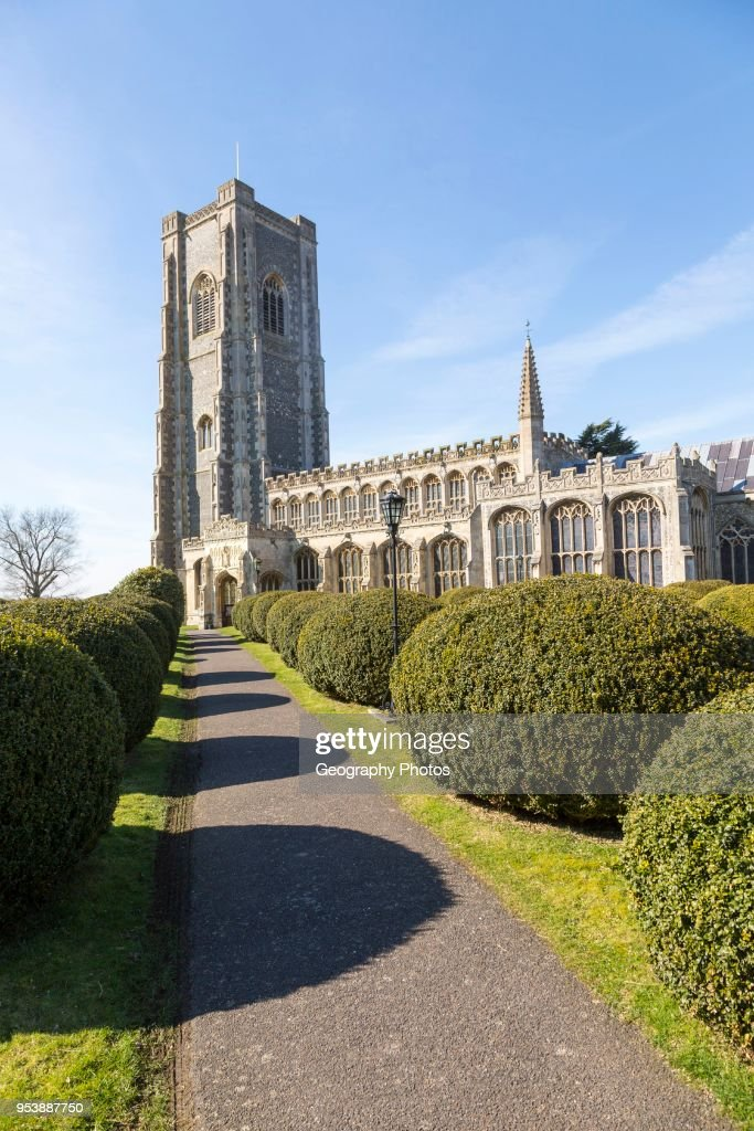 Historic village parish church of Saint Peter and Saint Paul, Lavenham, Suffolk, England, UK : News Photo