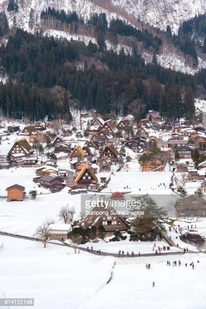 historic villages of shirakawa-go and gokayama, japan. winter in shirakawa-go, japan. traditional style huts in gassho-zukuri village, shirakawago and gokayama, world heritage site. - takayama city stock pictures, royalty-free photos & images
