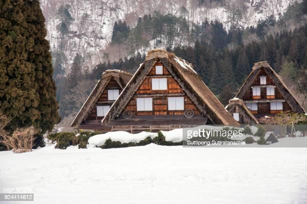 historic villages of shirakawa-go and gokayama, japan. winter in shirakawa-go, japan. traditional style huts in gassho-zukuri village, shirakawago and gokayama, world heritage site. - unesco stock-fotos und bilder