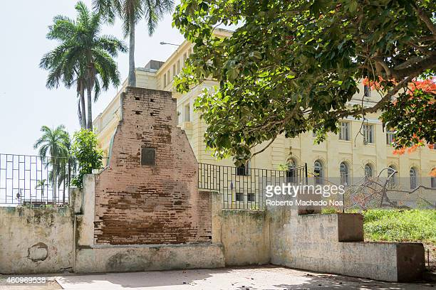 Historic wall of the Tarragona barracks where Cuban pro independence patriots were executed by fire arms in the Spanish colonial era This wall is...
