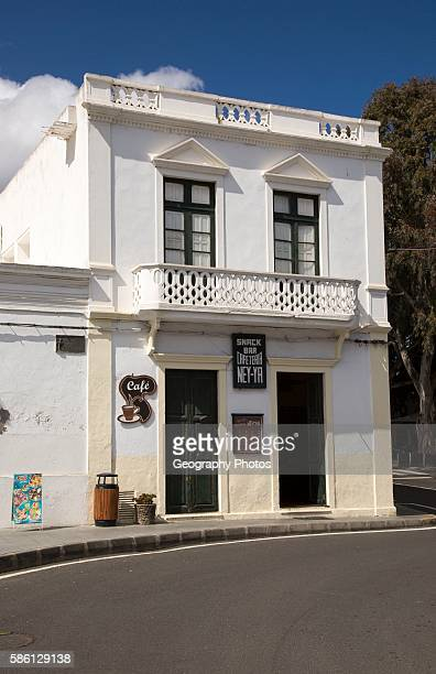 Historic whitewashed cafe building in Haria Lanzarote Canary Islands Spain