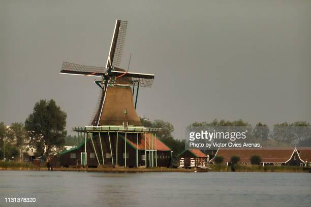 historic windmill and houses. traditional dutch landscape in zaanse schans, netherlands - victor ovies fotografías e imágenes de stock