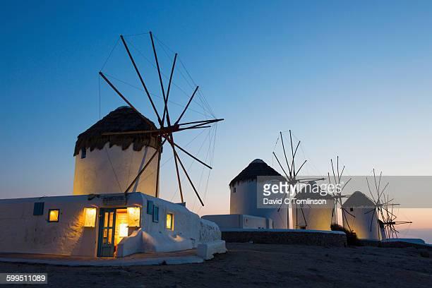 Historic windmills at dusk, Mykonos Town, Mykonos