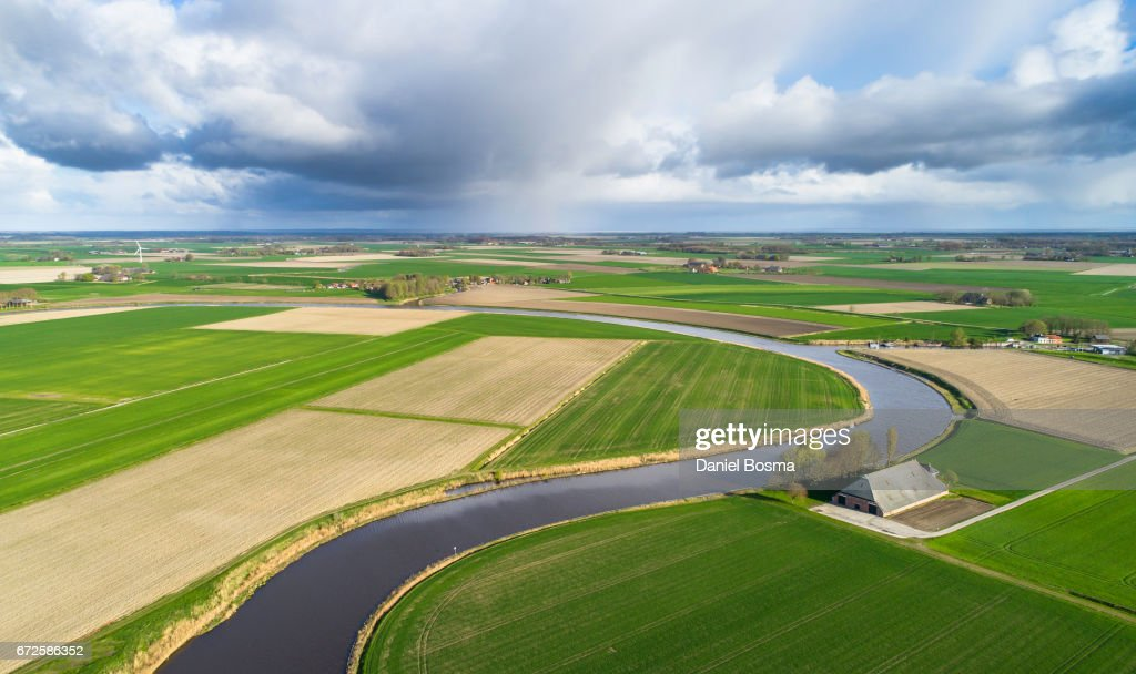 Historical and protected landscape in the Netherlands seen from above : Stock Photo