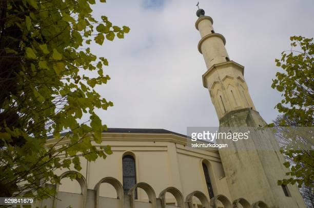 historical arabic mosque at brussel belgium - moskee stockfoto's en -beelden