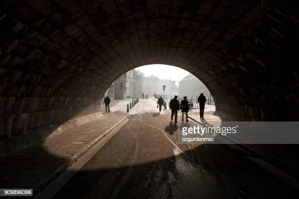historical arch bridge and people in ghent, belgium - flandres oriental imagens e fotografias de stock