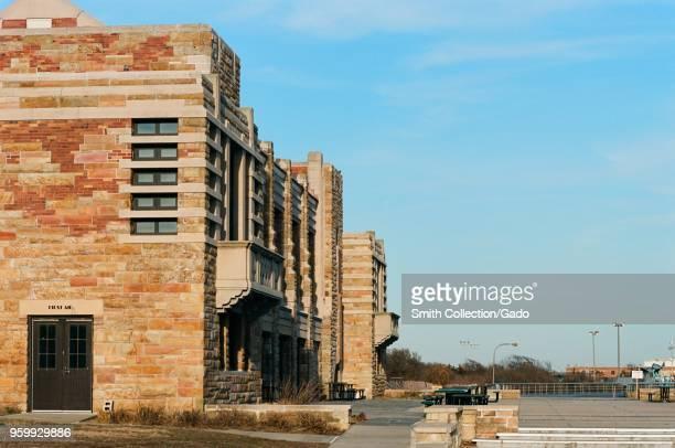 Historical bathhouse building at Jones Beach on Long Island Wantagh New York March 19 2018